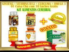 Kit Alimentos Cerebral Ômega 3 + Ginseng + Cúrcuma Açafrão + Vitamina B1...