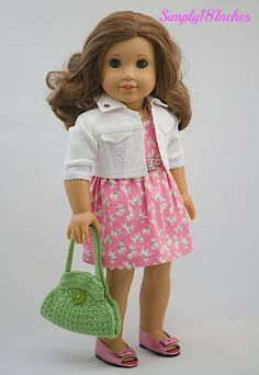 Sweet Summer Ensemble: Sleeveless Dress, White Denim Crop Jacket with Lace Inset, and Crocheted Purse by Simply18Inches via Etsy  $89.00