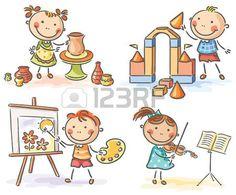 Los niños que participan en diferentes actividades creativas