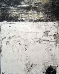 Yuko Wada (Japan) - Gesso, sumi, beeswax on board, 50 x 45 (2008)  [more Yuko Wada | artist found at dailyartjournal]