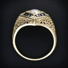 .80 Carat Art Deco Diamond & Sapphire Ring in Yellow Gold  - side view. Circa. 1930s http://www.langantiques.com/products/item/10-1-4934