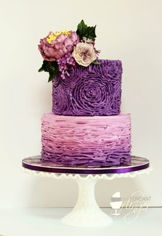 Purple ombre wedding cake by the fondant flinger Fancy Cakes, Cute Cakes, Pretty Cakes, Diy Wedding Cake, Purple Wedding Cakes, Ombre Cake, Fondant Cakes, Cupcake Cakes, Buttercream Ruffle Cake