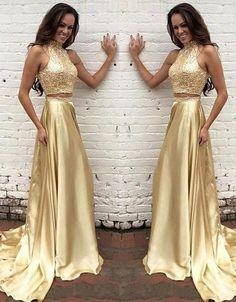 Modern High Neck Beading Prom Dress,Two-pieces Gold Long Prom Dress,Mop the floor long dress