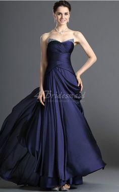 A-line Strapless Long Dark Navy Satin Chiffon Evening Dresses(BD487)
