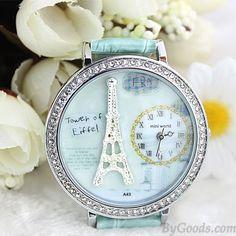 Polymer clay cartoon rhinestones romantic Paris Crystal Tower retro watch only $33.9 in ByGoods.com