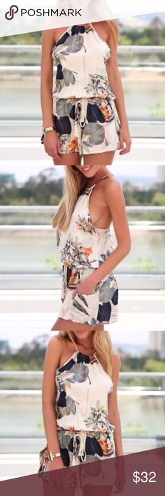 """available soon Floral Romper lightweight, polyester blend, fun design for the upcoming season  ❤Add this listing to your """"likes"""" & I'll send you a notification when it's in stock. Limited quantities so act fast when you get your notification. ⁉️I'm happy to answer all your questions, please ask them before you buy so I can make your purchase in my closet absolutely perfect. Pants Jumpsuits & Rompers"""