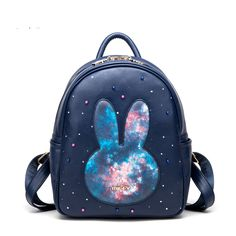 Cute Japanese Fashion Backpack Bags on Girly Girl の To Alice.Cute Fashion Galaxy Bunny Tivet Pu Leather Backpack Bags Gg643 is a cute and unique girly designer for every female customer, which will be a eye- catching focus in the street. .It is a staple in your wardrobe for it can be worn for your daily outfit for many occasions.