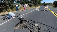 """""""Can you hear me now?"""" A giant crack in the road from 6.0 magnitude earthquake in northern Cali"""