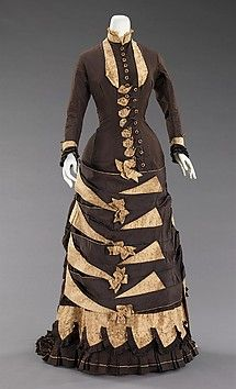 Silk Black and Ivory Dress With Geometric Design, American, 1879