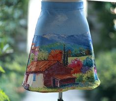 Designed Handmade FineArt Collection The Italian village oil painting chic vintage gorgeous skirt and dress