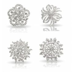 cheap brooches for Bouquet! $17.99 for 4pc Womens Clear Crystal Bezel Flower Fashion Brooch