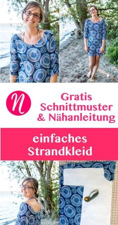 Einfaches Strandkleid für Damen - Kostenloses Schnittmuster Gr. S - XL. Für Anfänger geeignet. Nähtalente - Magazin für kostenlose Schnittmuster. - Free sewing pattern for an easy beach cover up. Size S - XL