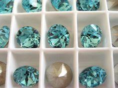6 Light Turquoise Foiled Swarovski Crystal Chaton by BeadwareIL-$2.60,12-$4.65,15-$5.80