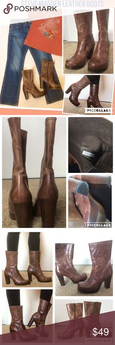 """Steve Madden Leather Boots 🍂 100% leather even the lining is leather. Size 10 or 40 Europe. 1"""" platform 4"""" heel These are meant to look like a well worn pair of cowboy boots? Should get better with age. Mid calf medium brown leather. Please see that there are natural dings. Photo of the sole shows really no use (2 times?) Bundle to get a discount & pay only 1 shipping fee, Click """"Add to Bundle""""⬇️ Jeans & top on sale, separate listing Steve Madden Shoes Heeled Boots"""