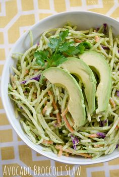 Avocado Broccoli Slaw : Swap out the mayo for some fresh avocado in this delicious side dish, perfect for your next cookout! #sweetswaps