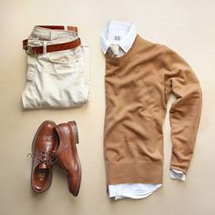 Classic camel earth tones. Caramel jumper. Brown shoes. Chinos. Pale tie.