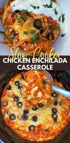 Crockpot Chicken Enchilada Casserole, Chicken Enchiladas Slow Cooker, Slow Cooker Casserole, Easy Crockpot Chicken, Crockpot Dishes, Crock Pot Cooking, Casserole Recipes, Crockpot Recipes, Slow Cooker Chicken Healthy