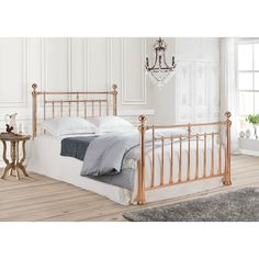 The Double Rose Gold Metal Bed frame is available in double and kingsize. This rose gold bed is a must for any bedroom. Metal Double Bed, Double Beds, Ottoman Storage Bed, Bed Storage, Rose Gold Bed, Royal Bed, Beds Uk, Brass Bed, Copper Bed