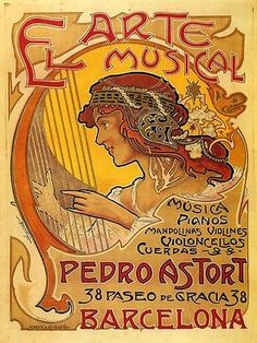 SPAIN-ARTE-EL-MUSICAL-WOMAN-PLAYING-HARP-BARCELONA-MUSIC-VINTAGE-POSTER-REPRO