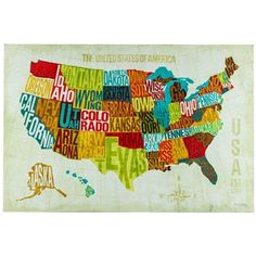 Journey across the fifty states with your eyes. USA Modern Canvas Art features the fifty states in bright and bold colors, including green, turquoise, red, white, and brown, along with each state name printed within the borders of the state. This unique map of the United States is perfect for adding a special and decorative touch to offices, studies, bedrooms, and more!