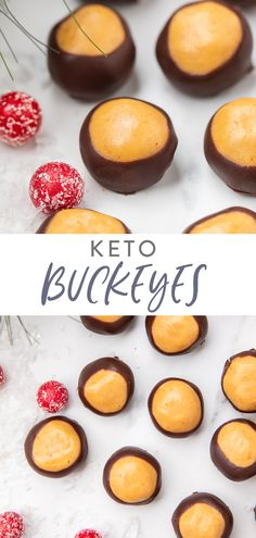 Sweet and creamy peanut butter balls dipped in chocolate. these buckeyes are keto and low carb! Perfect for Christmas and the holidays, they're easy to make and only use 7 ingredients. Based off my mother's famous recipe. Keto Friendly Desserts, Low Carb Desserts, Low Carb Recipes, Dessert Recipes, Dessert Food, Healthy Desserts, Lunch Recipes, Dinner Recipes, Famous Recipe