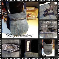 Sac bandoulière Be cousu par Mag'Créations en jeans. patron sac http://sacotin.com/boutique/patron-sac-be-bop/