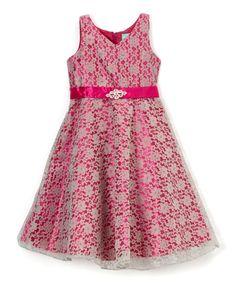 Fuchsia & Gray Lace-Overlay A-Line Dress - Girls