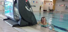 Evelyn Eunson uses a submersible lift to access the pool at the Pickaquoy Leisure Centre in Kirkwall, Orkney Swimming Pool Designs, Swimming Pools, London 2012 Game, Access Ramp, Pool Ladder, Usa People, Lift Design, Learn To Swim, Three Boys