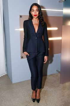 Laura Harrier was suited up in a timeless navy pairing. Simple and chic, for sure.