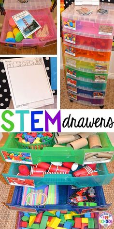 STEM drawers are a simple, easy to implement STEM activities even if you have a small classroom. Just add challenge cards and sketch paper. Perfect for preschool, pre-k, and elementary classrooms. activities for kids preschool stem challenges Stem Science, Preschool Science, Science Activities, Summer Science, Science Centers, Kid Science, Physical Science, Science Education, Earth Science