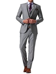 BOwith Men's New Casual Slim Fit Skinny dress Vest Business Suits Three-piece M
