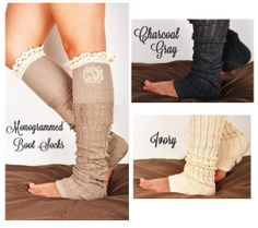 Monogrammed Crochet Lace Boot Socks Leg Warmers by tinytulip, $26.50