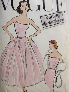 flattering neckline 1950s Gorgeous Strapless Sheath and Tie On Skirt Cocktail Evening Dress Pattern Pure Glamour Stunning Style Vogue Special Design 4787 Vintag...