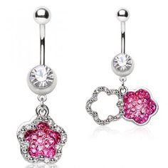 316L Surgical Steel Belly Button Navel Ring with Two Flower Shaped Dangles