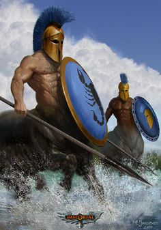 Art by M. Jakubiec - Centaur sentinels with basic helms, spears, and aiglos shields
