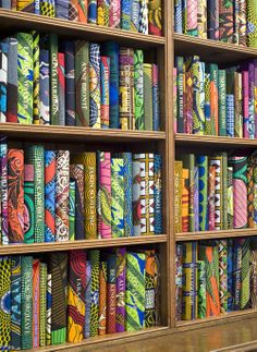 'The British Library' - 10,000 batik-covered books by Yinka Shonibare, British-Nigerian artist living in London. Commissioned for Brighton Festival, May 2014.