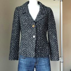 *DANA BUCHMAN: Wool Jacket Great Condition!! Classic black & white jacket w/2 black button down front. Easy to dress up or wear semi casual. 24 inches length from top of shoulder to bottom. There's some pilling since its pre-loved:) Dana Buchman Jackets & Coats