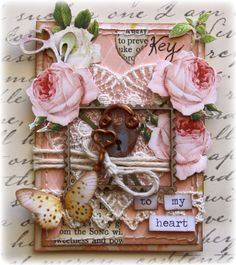 ATC made by Websters Pages design team member Gabrielle Pollacco using Modern Romance collection, and Websters Pages Designer Threads (white lace heart)