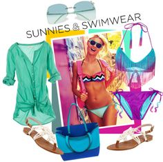 """""""SUNSHINE, SUNNIES, AND SWIMWEAR"""" by fashiontake-out ❤ liked on Polyvore"""