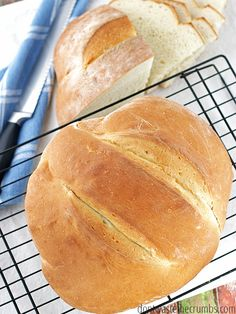 This man bread recipe is so easy, even a man can make it. It was after all, developed by one! Create an awesome, man-sized loaf of homemade bread in just 90 minutes. An easy recipe for novice or men cooks alike! :: DontWastetheCrumbs.com