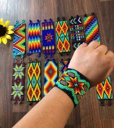 Handmade Huichol style Beaded Bracelet Each one is one of kind. Native Beadwork, Native American Beadwork, Beading Patterns Free, Bead Loom Patterns, Bead Loom Bracelets, Beaded Bracelet Patterns, Bead Embroidery Jewelry, Beaded Embroidery, Brick Stitch Earrings