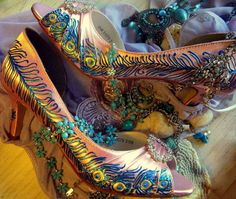 Wedding Shoes painted Peacock Feather Coral Under the by norakaren, @Amanda Smith...check these bad nasties out!  loveryly!