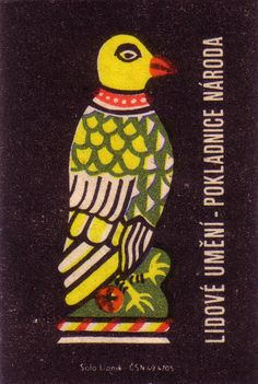 czech-slovak folk art matchbox label