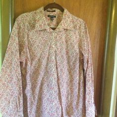 Bundle button up shirts One floral shirt in reds and orange another in stripe black and white. Both never worn, but washed. Tops Button Down Shirts