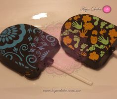 Paletas de chocolate decoradas www.toquedulce.com.mx