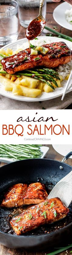 sweet and tangy Asian BBQ Salmon dripping with flavor from the most INCREDIBLE glaze but one of the easiest meals to throw together! Delicious enough for company, easy enough for everyday.