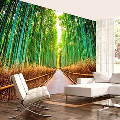 Vlies Fototapete 400x280 cm - 3 Farben zur Auswahl - Top - Tapete - Wandbilder XXL - Wandbild - Bild - Fototapeten - Tapeten - Wandtapete - Natur Wald Landschaft grün Straße Bambus Sonne c-B-0074-a-b