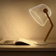 Linien - 3D Effect LED Table Lamp Bureau Design, Desk Light, Light Table, Living Room Lighting, Home Lighting, Lighting Design, Lighting Ideas, Plexiglass, Wooden Table Lamps