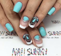Fashion nails 2016, French nails with stones, Fresh nails, Mint nails, Nails trends 2016, Nails with rhinestones ideas, Nails with stones, ring finger…