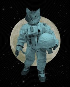 Astronaut Space Cat Wood Block Art Print by LuciusArt on Etsy, $39.00